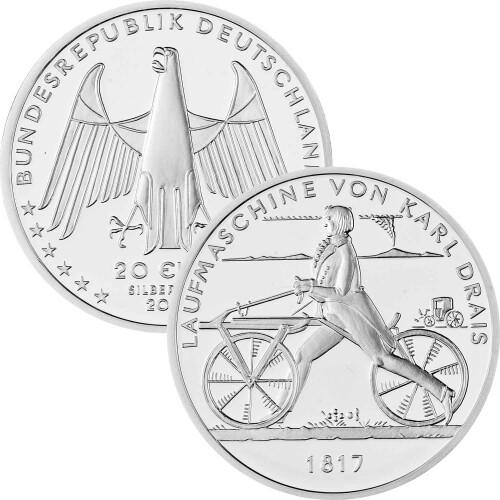 20 Euro Deutschland 2017 Silber Bfr Laufmaschine Karl Drais 1817