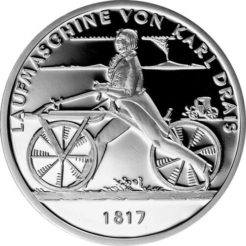 20 Euro Deutschland 2017 Silber Pp Laufmaschine Karl Drais 1817 39