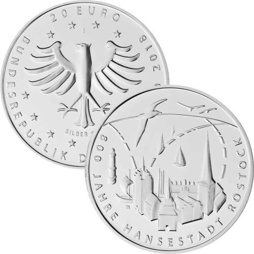 20 Euro Deutschland 2018 Silber Bfr 800 Jahre Hansestadt Rostock