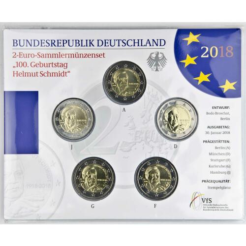 2 Euro Gedenkmünze Deutschland 2018 Pp Helmut Schmidt Im Bli