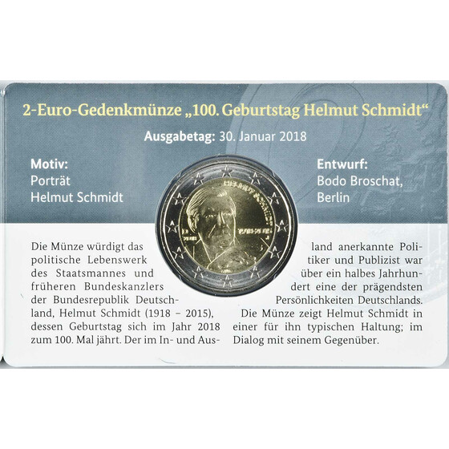 2 Euro Gedenkmünze Deutschland 2018 Helmut Schmidt J In Co
