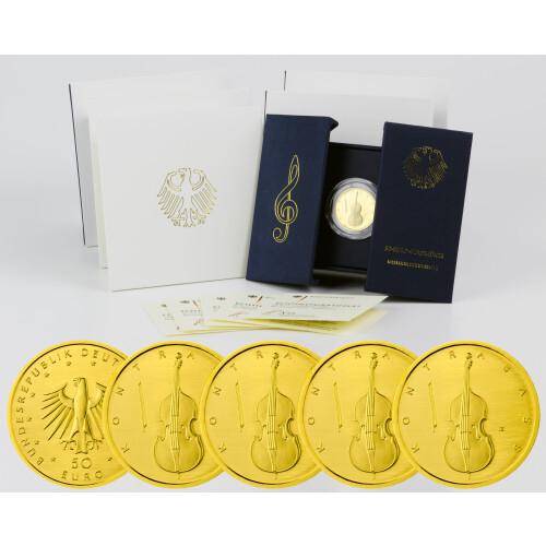 5 X 50 Euro Goldmünze Deutschland 2018 Kontrabass