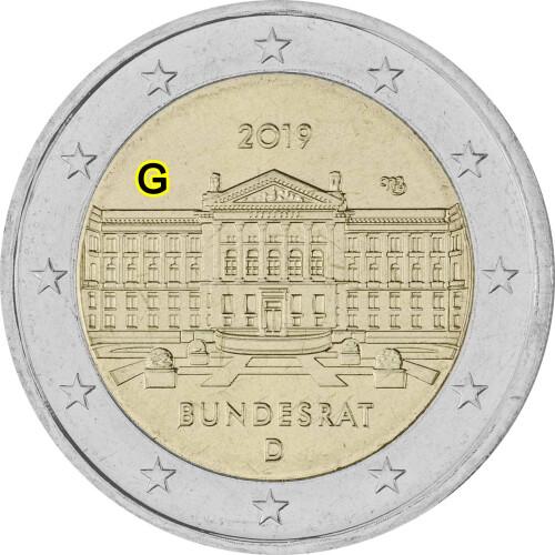 2 Euro Gedenkmünze Deutschland 2019 Bfr Bundesrat G 299
