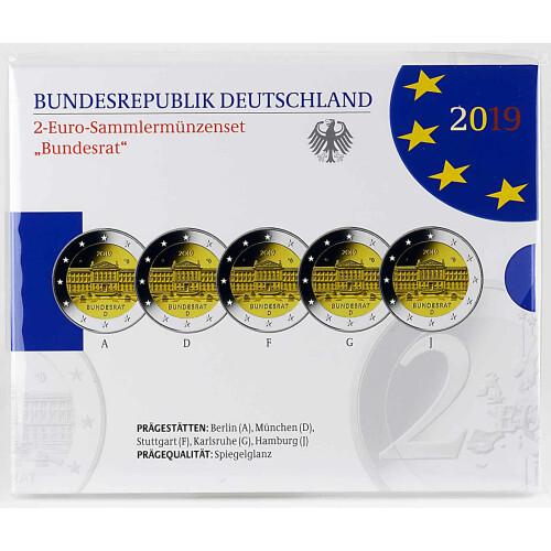 5 X 2 Euro Gedenkmünze Deutschland 2019 Pp Bundesrat Im Blis