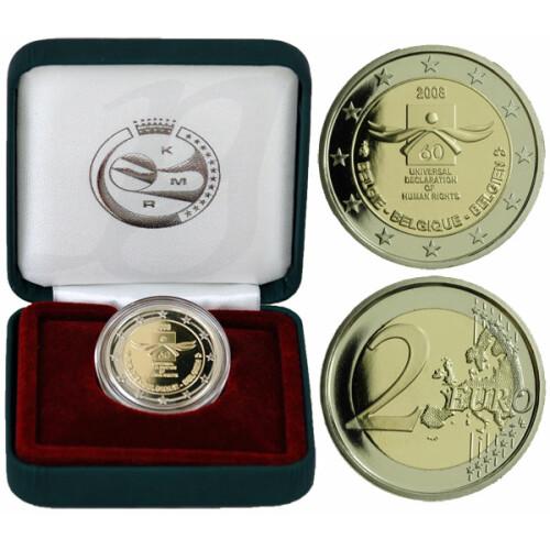2 Euro Gedenkmünze Belgien 2008 Pp Menschenrechte Im Etui 3