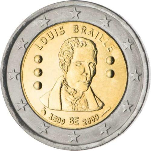 2 Euro Gedenkmünze Belgien 2009 Bfr Louis Braille 495 Euro