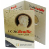 2 Euro Gedenkmünze Belgien 2009 st - Louis Braille - in Karte