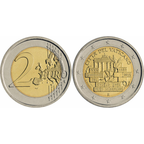 2 Euro Gedenkmünze Vatikan 2014 St Fall Der Berliner Mauer 57