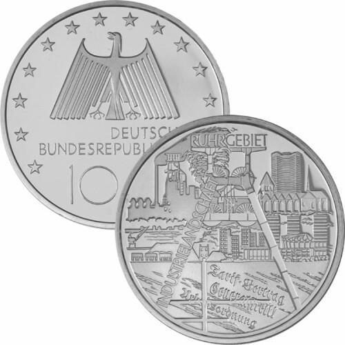 10 Euro Deutschland 2003 Silber Pp Ruhrgebiet 3200
