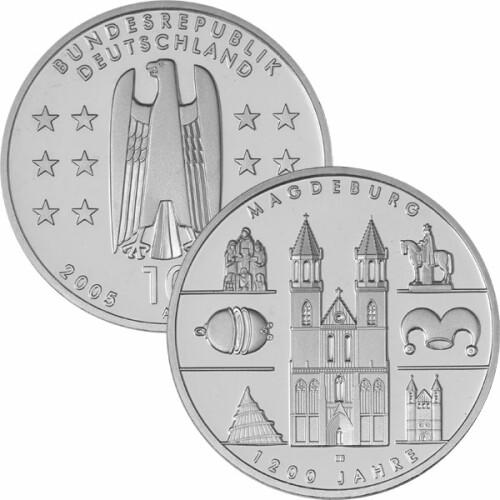 10 Euro Deutschland 2005 Silber Pp Magdeburg 3150