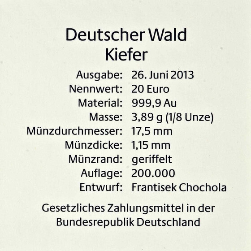 20 Euro Goldmünze Kiefer Deutschland 2013 Serie