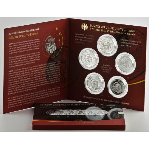 5 X 25 Euro Gedenkmünze Deutschland 2015 Silber Pp 25 Jahre De